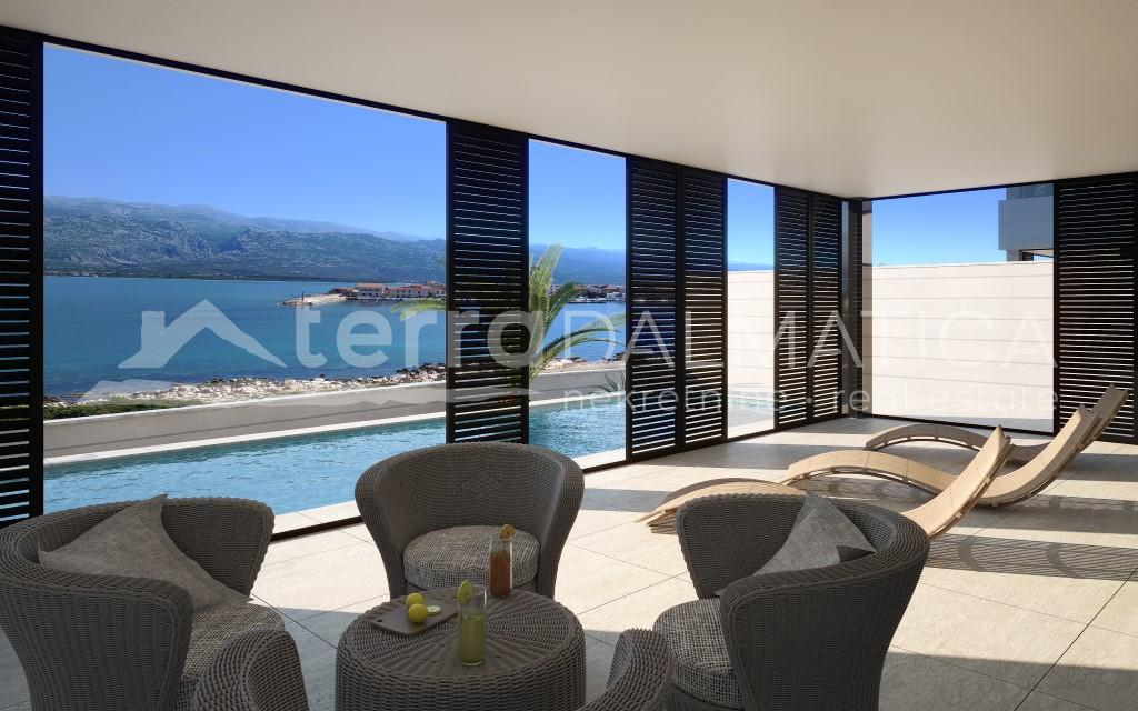 Vinjerac- luxury apartment at the junction of the Adriatic Sea and Velebit - covered terrace